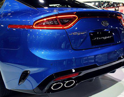 Vehicle, Car, Sports, Kia, Stinger, Blue, Blue Car