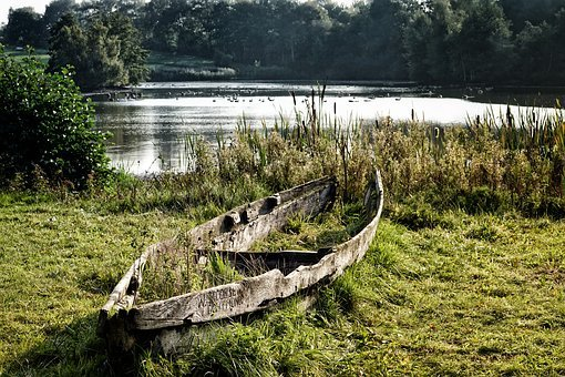 Boat, Lake, Rowing Boat, Rest, Grass, Old, Weathered