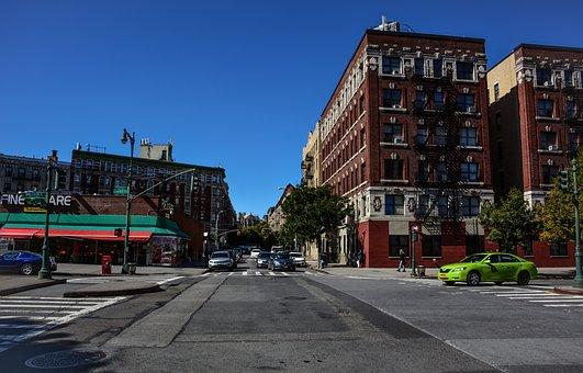 City, Street, Crossroads, Building, Urban, Harlem