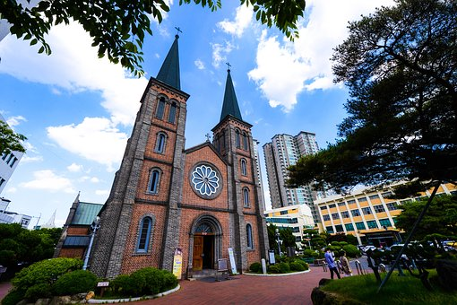 Korea, Daegu, Apartments On Star, Calculation Cathedral