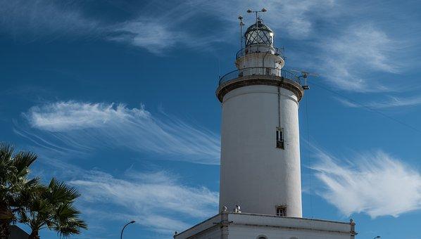 Malaga, Lighthouse, Port, Street Lamp, Sky, Clouds