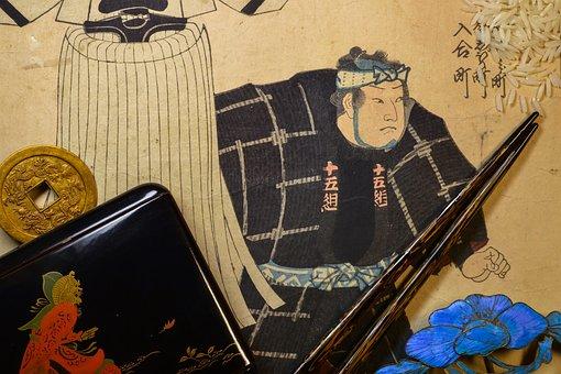 Japan, Woodblock Printing, Woodcut, Old, Collage