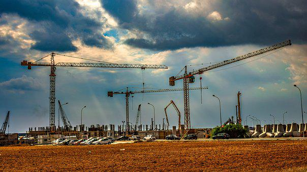 Cranes, Construction Site, Sky, Clouds, Construction