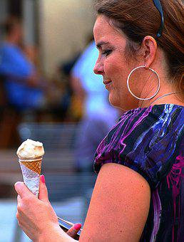 Woman, Eating Ice Cream, Ice Cream, Summer