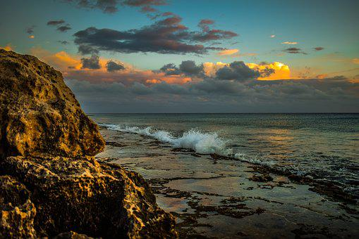 Rocky Coast, Beach, Sky, Clouds, Afternoon, Evening