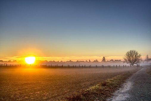 Sunrise, Fog, Autumn, Cool, Mood, Landscape, Nature