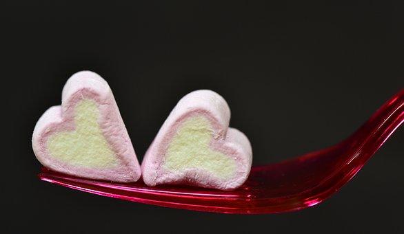 Herzchen, Heart, Love, Eat, Marshmallow, Sweetness