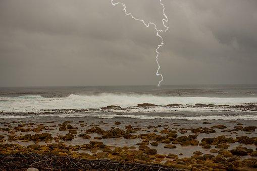 Coast, Flashes, Sea, Impact, Sky, Thunderstorm, Storm