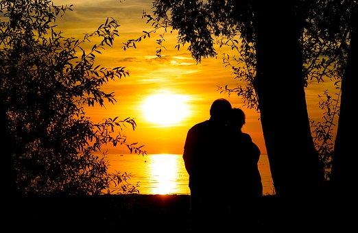 Sunset, Lake, Romance, Lovers, Abendstimmung, Lakeside
