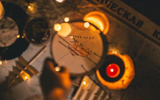 Map, Christmas Decorations, Magnifier, Retro, Vintage