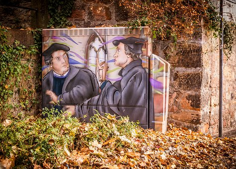 Mural, Spray, Marburg, Luther, Zwingli