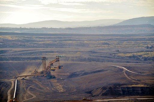 Lignite, Mine, Mining, Hard, Machines, Excavator