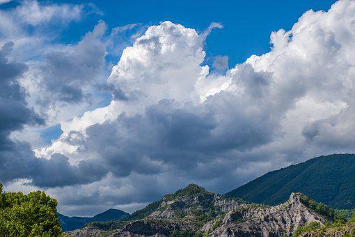 French Alps, Lower Basin, Mountains, Billowing Clouds