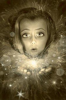 Book Cover, Portrait, Child, Girl, Light, Magic