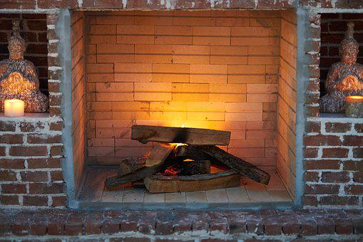 Fireplace, Wood, Wall, Brick, Burn, Hot, Romantic, Fire