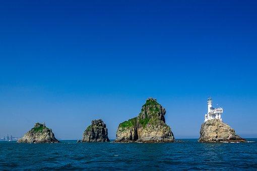 Oryukdo, Busan, Haeundae Beach, Island, Sea, Rock