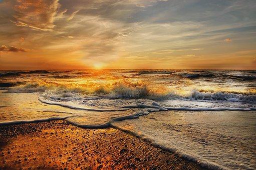 North Sea, Sun, Sky, Beach, Vacations, Sea, Clouds
