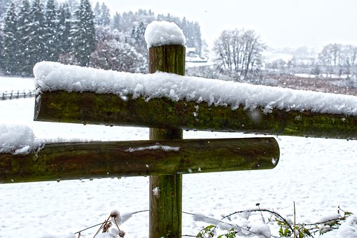 Pasture Fence, Coupling, New Zealand, Snowfall