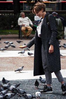 Women, Smile, Sexy, Spring, Paloma, Pigeons