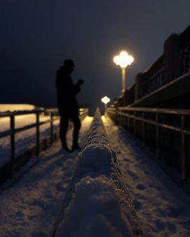 Snow, Winter, Lantern, Symmetry, Quay, Silhouettes