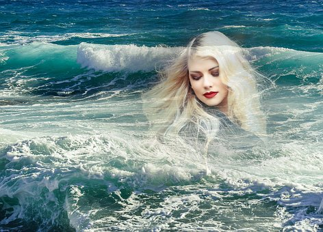Sea, Shakes, Woman, Blond, Pretty, Wave, Ocean, Water