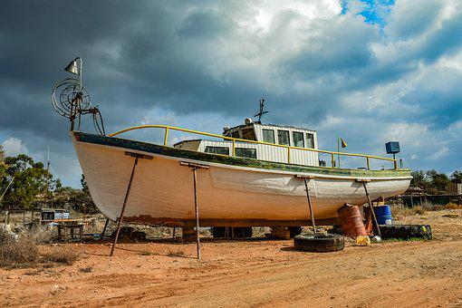 Fishing Boat, Wooden, Traditional, Grounded, Shipyard