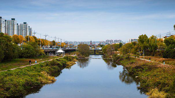 River, Gwangju, City, Landscape, Architecture, Panorama
