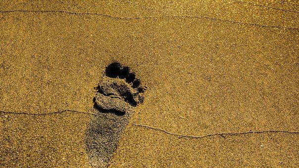 Beach, Fotoavtrykk, Summer, Barefoot, Sand, Feet, Human