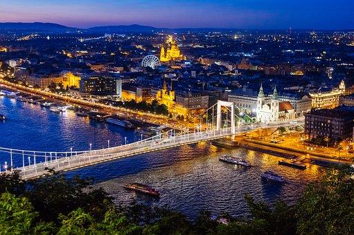 Budapest, Hungary, Night, Danube, Bridge, Beautiful