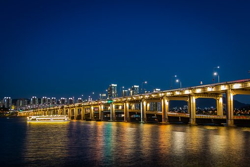 Night, Apartments On Star, Bridge, City, Skyline