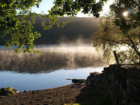 Lake, Mist, Morning, Conniston Water, England