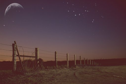 Rual, Country, Countryside, Agriculture, Moon, Sky