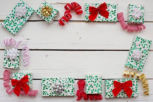Christmas Flat Lay, Border, Frame, Gifts, Presents