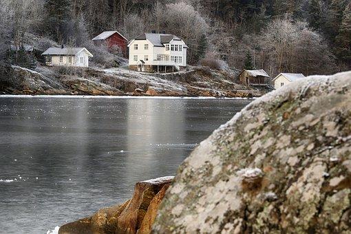 Sea, Rocks, Frost, Winter, Nature, Landscape, Frozen