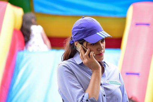 Girl Talking On A Cell Phone, Phone, Speaking, Women