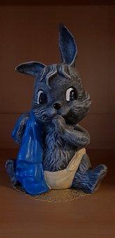 Ceramic Figures, Hare, Blanket, Isolated, Diaper, Blue