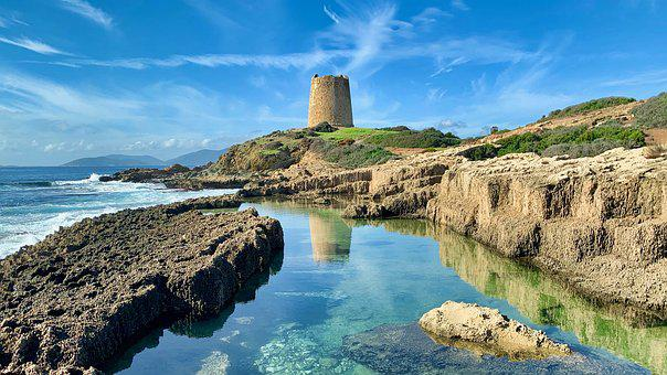 Sardinia, Tower, Italy, Sky, Sea, Cagliari, Landscape