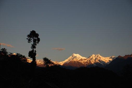 Mt, Kanchenjunga, View From Lingthem, Sikkim Himalaya