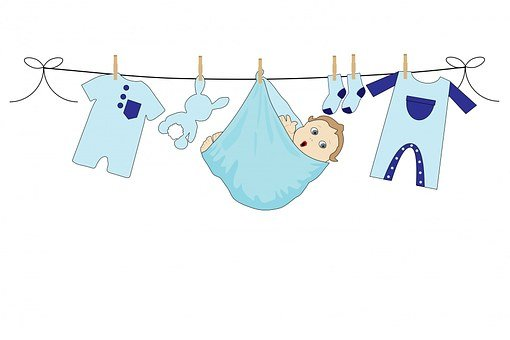 Baby, Boy, Blue, Clothes, Line, Washing, Laundry