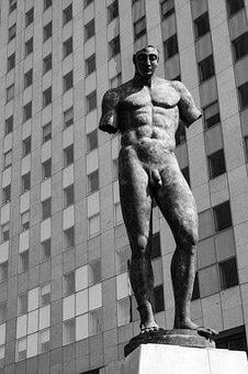 Statue, Man, Black And White, Body, Muscles, Men Body