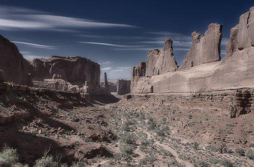 Arches, Park, American, West, Desert, Desaturated