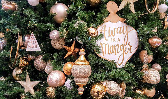 Christmas, Ornaments, Pine, Tree, Away In A Manger