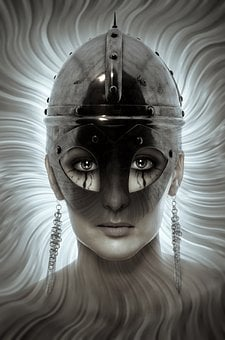 Book Cover, Portrait, Helm, Woman, Head, Face, Fantasy
