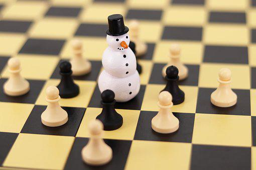 Snowman, Chess, Figure, Chess Board, Chess Game