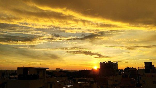 Red Sky, Sun, City In Sun