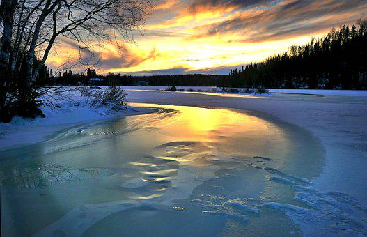 Landscape, Sunset, Winter, Nature, Ice, Twilight, Trees