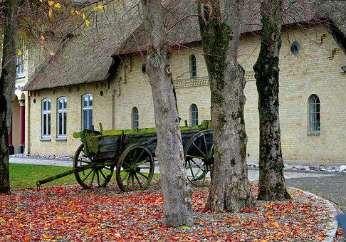Thatched Cottage, Old Wooden Wagon, Trees, Leaves