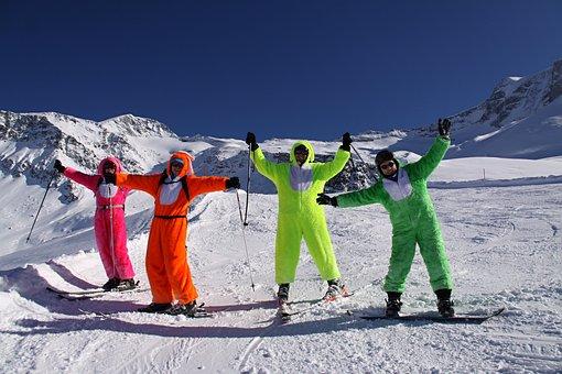 Ski, The Moutains, Mountains, Friends, Winter, Fun