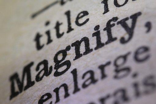 Magnify, Close Up, Words, Dictionary, Text