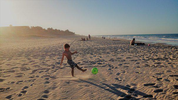 Beach, Football, Mar, Ball, Sol, Sand, Son